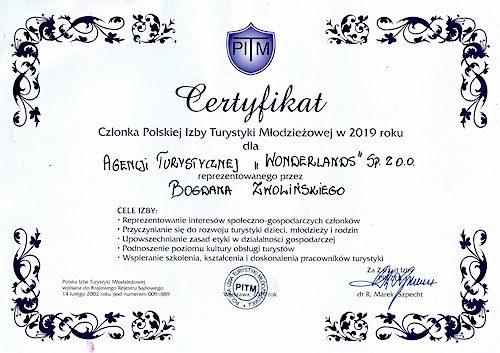 Certyfikat Polska Izba Turystyki